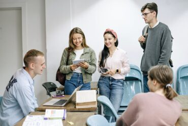 group of people studying together