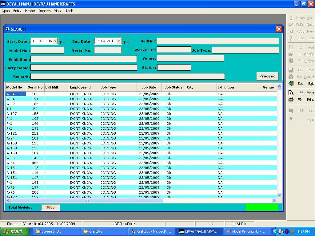 Craft Model Management System developed using Visual basic 6.0 and Microsoft Access